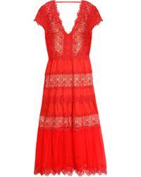Catherine Deane - Guipure Lace-paneled Silk-chiffon Midi Dress - Lyst