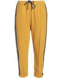 Brunello Cucinelli - Striped Wool-trimmed Cotton-blend Terry Track Trousers - Lyst