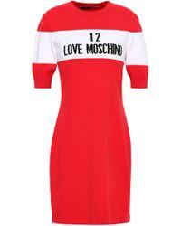a7ea1bf32ab Moschino Logo Intarsia Dress in Black - Lyst