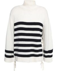 Joie - Lantz Lace-up Striped Wool And Cashmere-blend Jumper - Lyst