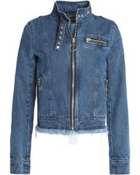 Marques'Almeida | Frayed Denim Biker Jacket Mid Denim | Lyst