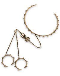 Valentino - Burnished Gold-tone Finger Bracelet - Lyst