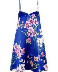 Olivia Von Halle - Mila Briella Floral-print Silk-satin Nightdress - Lyst