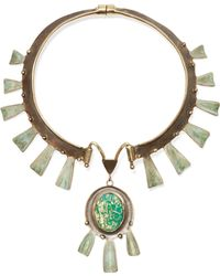 Tory Burch - Oxidized Gold-tone Stone Necklace - Lyst