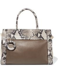 Just Cavalli - Snake-effect And Smooth Leather Tote - Lyst