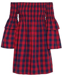W118 by Walter Baker - Off-the-shoulder Smocked Gingham Cotton Mini Dress - Lyst