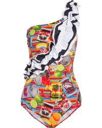 Stella Jean   Ruffle-trimmed Printed Swimsuit   Lyst