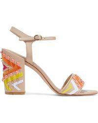 Stuart Weitzman - Both Embellished Leather Sandals - Lyst