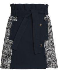 MSGM - Panelled Cotton-gabardine And Tweed Mini Skirt - Lyst