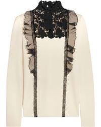 Giambattista Valli - Guipure Lace-paneled Ruffle-trimmed Wool Turtleneck Top - Lyst