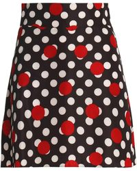RED Valentino - Polka-dot Crepe Mini Skirt - Lyst
