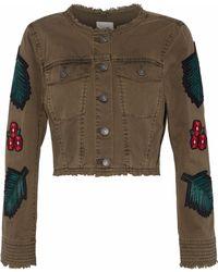 Cinq À Sept - Halina Cropped Appliquéd Denim Jacket Army Green - Lyst