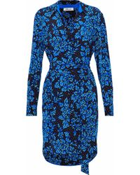 Diane von Furstenberg - Belted Printed Silk Crepe De Chine Shirt Dress Bright Blue - Lyst