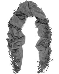 Autumn Cashmere - Fringed Shearling-trimmed Cashmere Scarf - Lyst