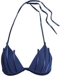 La Perla - Graphique Satin-appliquéd Triangle Bikini Top - Lyst