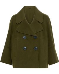 Elie Tahari Double-breasted Wool-felt Coat Dark Green