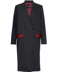 VEDA - Corporate Leather-trimmed Pinstriped Wool-blend Coat - Lyst