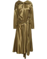 Vionnet Silk-satin Midi Dress Army Green