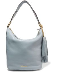 MICHAEL Michael Kors | Elana Large Tassel-embellished Textured-leather Shoulder Bag Sky Blue | Lyst