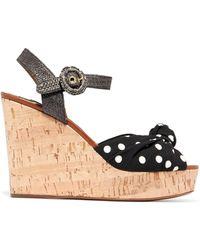 Dolce & Gabbana - Cady And Raffia Wedge Sandals - Lyst