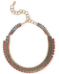 Elizabeth Cole - 24-karat Gold-plated Crystal Choker Multicolour - Lyst
