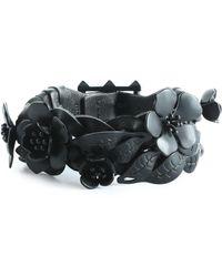 Valentino - Floral-appliquéd Braided Leather Bracelet - Lyst