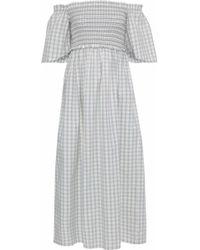 Ganni - Maryville Off-the-shoulder Gingham Cotton-poplin Midi Dress - Lyst