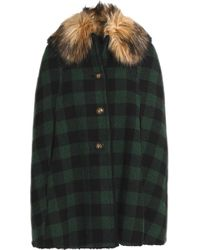 RED Valentino - Faux Fur-trimmed Checked Wool Cape Dark Green - Lyst