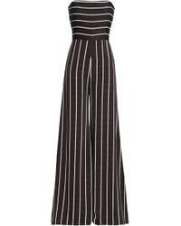 Safiyaa - Woman Strapless Striped Satin-crepe Jumpsuit Black - Lyst