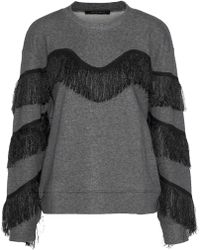 W118 by Walter Baker - Alexis Fringed Cotton-blend Sweatshirt - Lyst