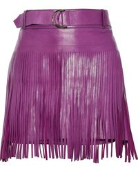 Roberto Cavalli - Belted Fringed Leather Mini Skirt - Lyst