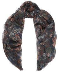 IRO - Woman Frayed Printed Modal And Silk-blend Scarf Anthracite - Lyst