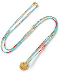 Chan Luu - Woman Bead And Gold-tone Necklace Turquoise - Lyst