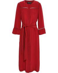 Vanessa Seward - Lattice-trimmed Silk Midi Dress - Lyst