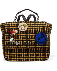 Vivienne Westwood Anglomania - Avon Embellished Leather-paneled Tinsel-trimmed Checked Felt Backpack - Lyst