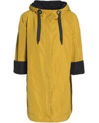 Brunello Cucinelli - Woman Bead-embellished Shell Hooded Raincoat Mustard - Lyst