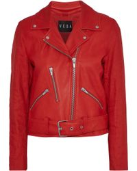 VEDA - Cal Linen-paneled Leather Biker Jacket Tomato Red - Lyst