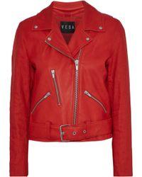 VEDA - Cal Linen-paneled Leather Biker Jacket - Lyst