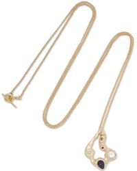 Maje - Hammered Gold-tone Crystal Necklace - Lyst