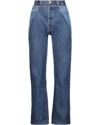 RE/DONE - High-rise Two-tone Straight-leg Jeans Mid Denim - Lyst