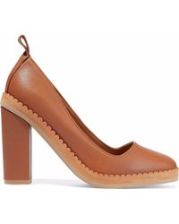 See By Chloé - Scalloped Textured-leather Pumps - Lyst