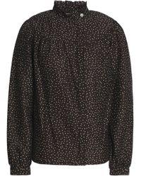 Vanessa Seward - Woman Gathered Polka-dot Cotton And Silk-blend Shirt Black - Lyst
