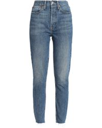 RE/DONE - Frayed Cropped High-rise Slim-leg Jeans - Lyst
