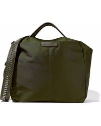 Stella McCartney - Chain And Faux Leather-trimmed Shell Shoulder Bag Army Green - Lyst