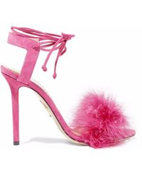Charlotte Olympia - Ostrich Feather-trimmed Suede Sandals - Lyst