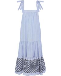 Rebecca Minkoff - Lucy Embroidered Cotton Oxford Midi Dress - Lyst