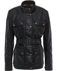 Belstaff Roadmaster 2.0 Belted Waxed-cotton Jacket Black