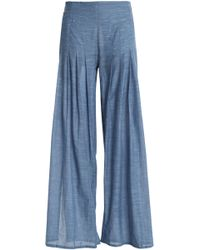 ViX - Pleated Cotton-chambray Wide-leg Trousers Mid Denim - Lyst