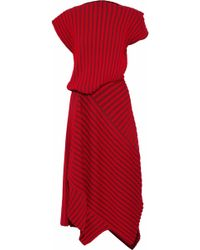 ROKSANDA - Asymmetric Striped Ribbed-knit Midi Dress - Lyst