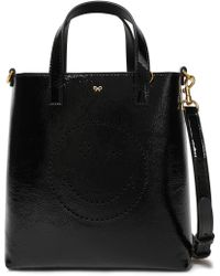 049f65154c4e Anya Hindmarch - Woman Perforated Wink Crinkled Patent-leather Tote Black -  Lyst